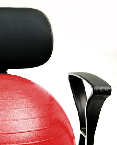 """CanDo 30-1791 Mobile Metal Ball Chair with 22/"""" Ball with Back and Arms"""