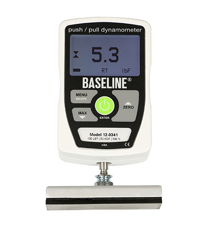 Baseline 50lb./22.5kg push- pull electronic dynamometer w/ 3-pads, 1-hook, and case