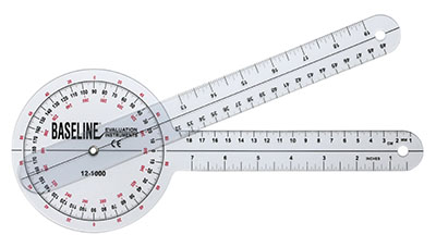 Baseline 360 degree clear plastic goniometer, 12 inches