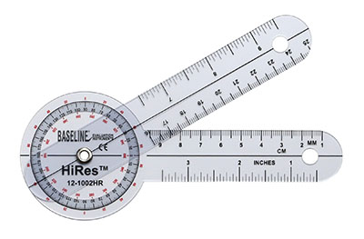 Baseline HiRes 360 degree clear plastic goniometer, 6 inches