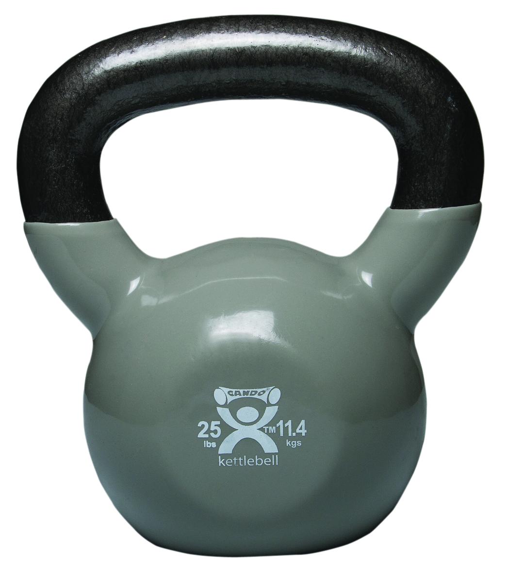 Cando cast iron strength training vinyl coated kettlebell